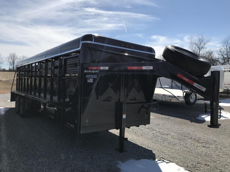"2019 Kodiak 24X6'8"" BRUSHFENDER GOOSENECK Livestock Trailer W/7K AXLES"