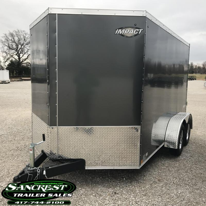 """2019 Impact Trailers 7X12 TANDEM CHARCOAL Enclosed Cargo Trailer W/6'6"""" HEIGHT"""
