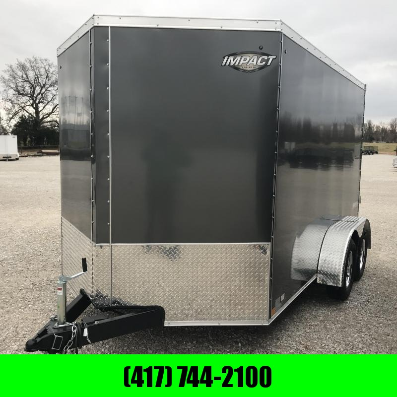 "2019 Impact Trailers 7X12 TANDEM CHARCOAL Enclosed Cargo Trailer W/6'6"" HEIGHT"