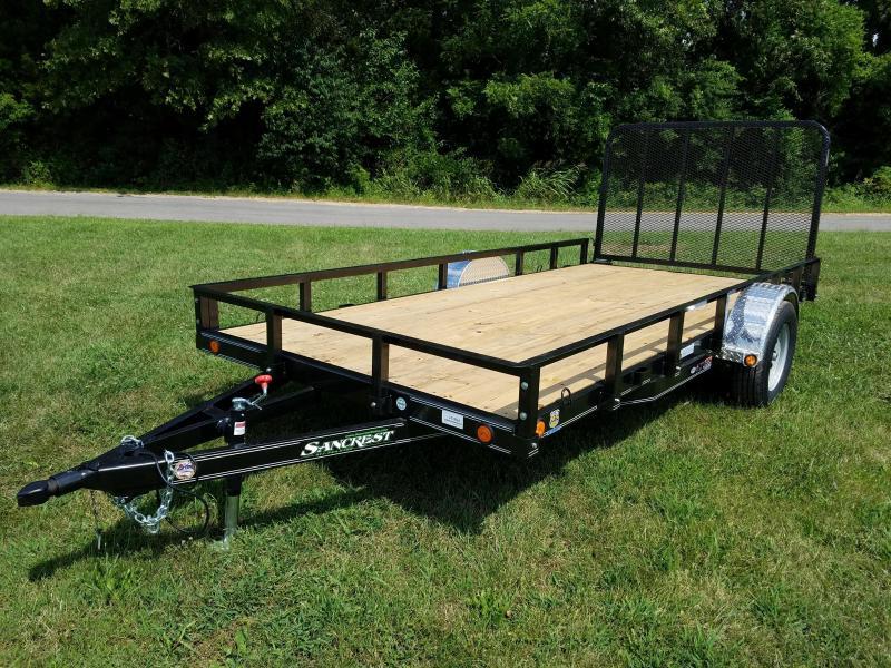 2017 Load Trail 77x14 Utility Trailer w/ removable railing/alum. fenders METALLIC BLACK