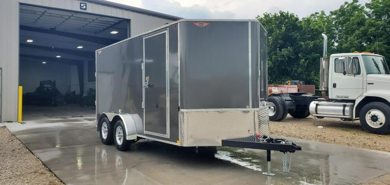 "2019 H&H 7X12 TANDEM 7K CHARCOAL METALLIC CARGO W/6'6"" HEIGHT & ALUMINUM RIMS"