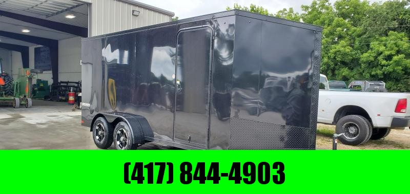 """2020 IMPACT 7X16 TANDEM 7K BLACKED OUT CARGO W/6'6"""" HEIGHT & ALUMINUM WHEELS"""