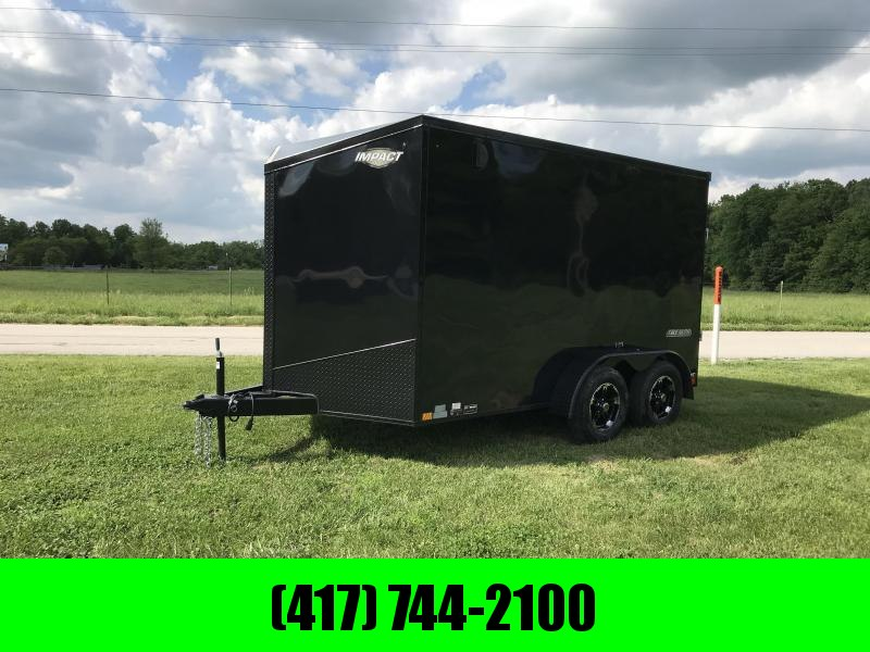 "2018 Impact Trailers 7X12 ALUMINUM WHEELS BLACK OUT W/ 6'6""HEIGHT SLANT NOSE TALL ROCK GUARD"