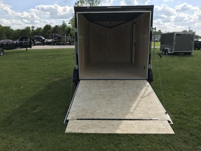 """2018 Impact Trailers 7X12 ALUMINUM WHEELS BLACK OUT W/ 6'6""""HEIGHT SLANT NOSE TALL ROCK GUARD"""