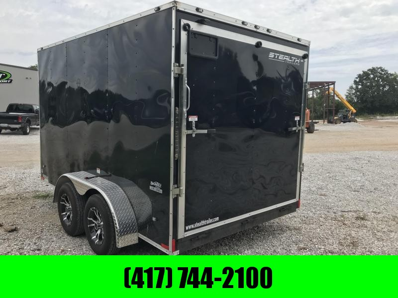 "2018 Stealth Trailers BLACK 7X12 6'6"" HT TANDEM AXLE Cargo Trailer W/ALUM. RIMS"