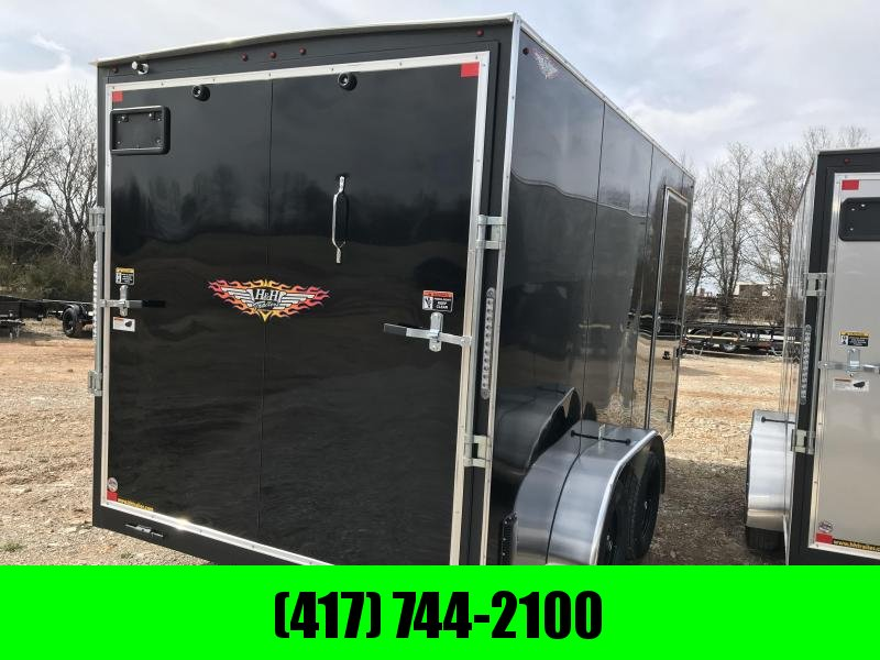 2019 H&H 7X14 TANDEM BLACK CARGO W/7' HEIGHT