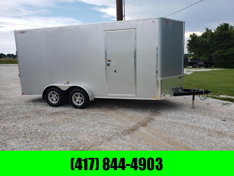 2020 H&H 7 X 16 TANDEM  SILVER MIST METALLIC CARGO W/ 7' HEIGHT & ALUMINUM WHEELS