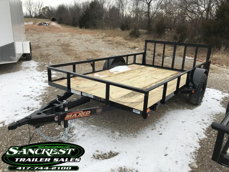 """2019 MAXXD 77X12 SINGLE AXLE UTILITY WITH 2' STEEL DOVETAIL AND 30"""" SPRING GATE"""
