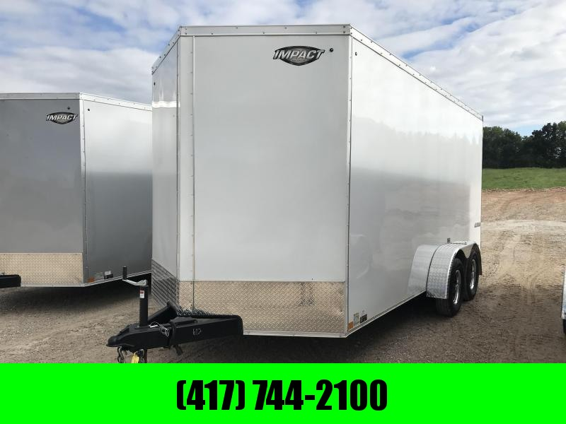 2019 Impact Trailers 7X16 7' HT Enclosed Cargo Trailer W/ BARN DOORS (WHITE)