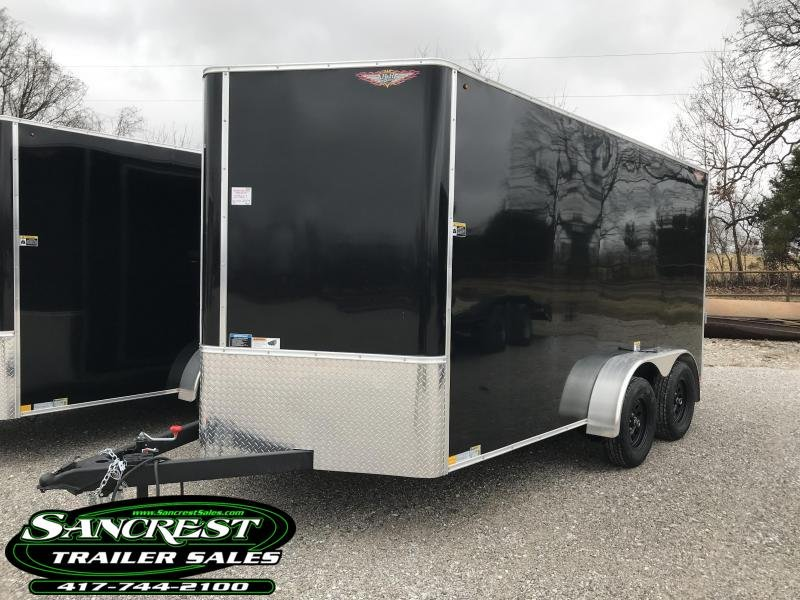 """2019 H and H Trailer 7X14 BLACK TANDEM Enclosed Cargo Trailer W/6'6"""" HEIGHT"""