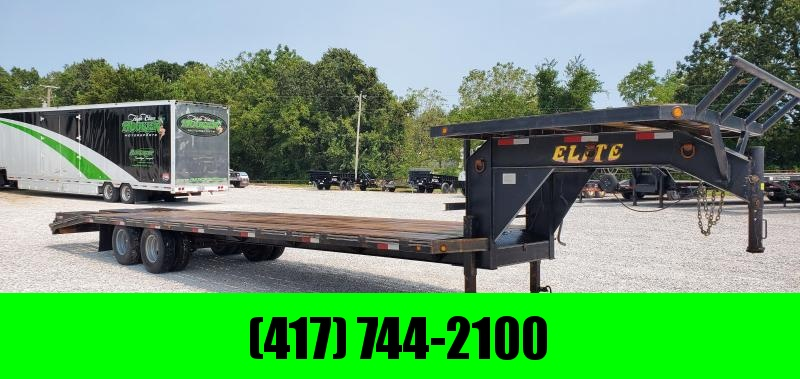2009 Elite 102X32(27+5) TANDEM LO-PRO GOOSENECK W/10K AXLES 2 FLIPOVER RAMPS CENTER POP UP DECK OVER NECK & 14PLY TIRES