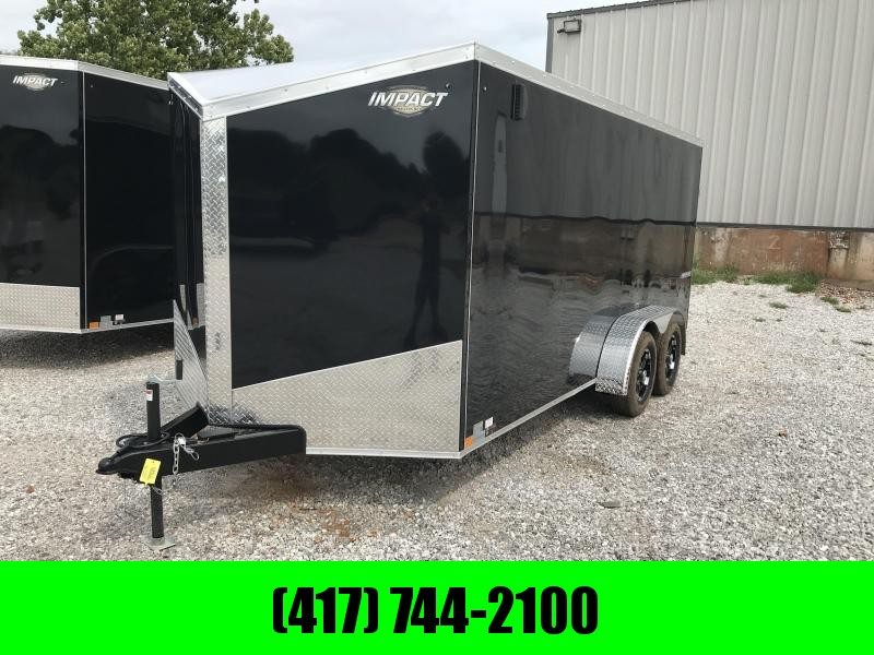"2019 Impact Trailers 7X16 BLACK Enclosed Cargo W/.040 EXT. EXTRA INT. LIGHTS SLANT NOSE BLOW THROUGH VENTS FLOOR 16"" O.C W/6' HEIGHT"