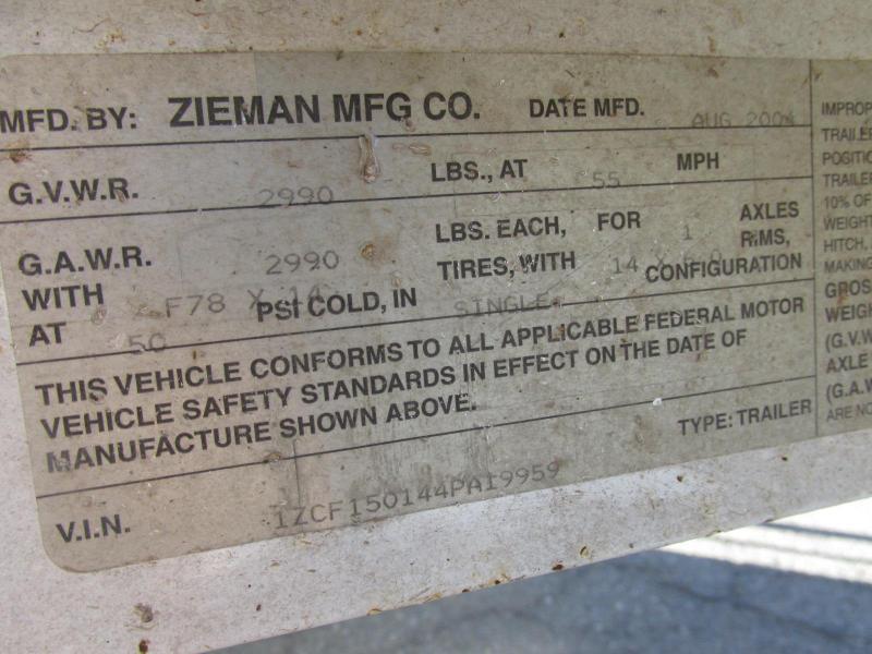2004 Zieman 72X12 Utility Trailer