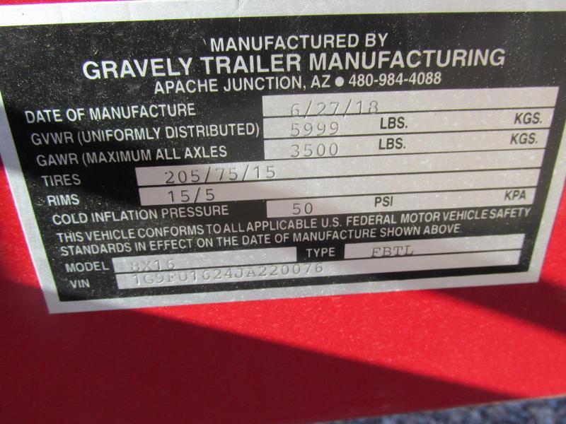 2018 Gravely 77X16 Utility Trailer