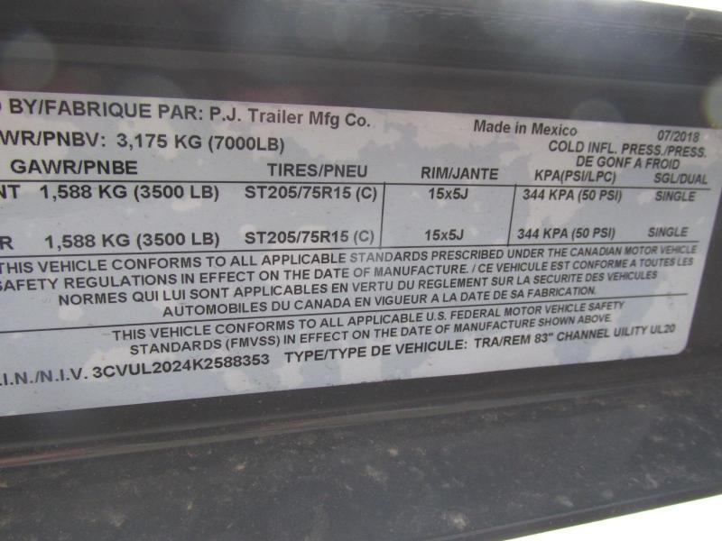 2019 PJ Trailers 83X20 Utility Trailer