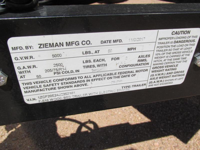 2018 Zieman 77X16 Utility Trailer