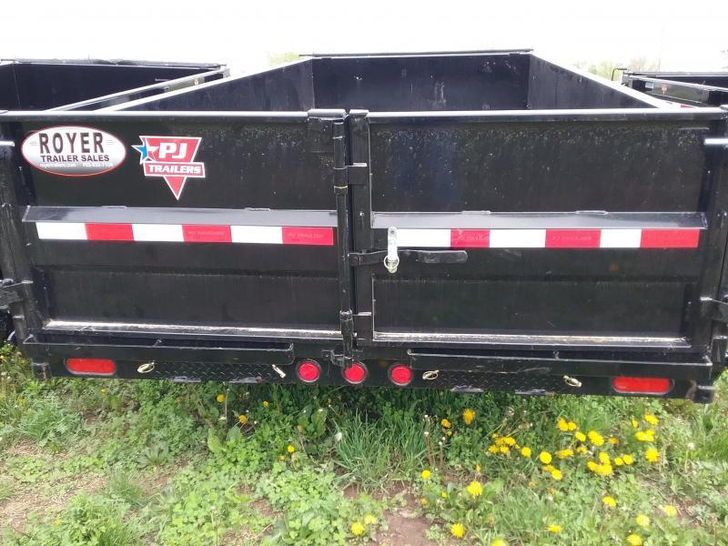 7x16-14K PJ Dump Trailer with Split Spread Gate-Spare Tire Mount and Tarp