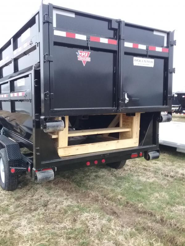14K PJ Gooseneck 14' Roll Off Dump Trailer (Includes 2 boxes) with 10 Gauge Steel Bin with Tarp and 4x D-Rings Welded in box