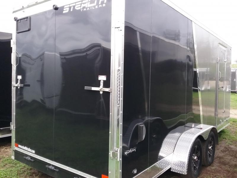 """7x18 (+12"""" Additional Height) Stealth Titan Blackhawk Enclosed Motorcycle Trailer*HAIL DAMAGED-CALL FOR DISCOUNT PRICING*"""