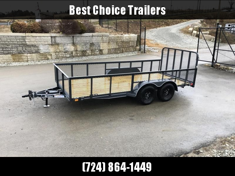 2019 X-on 7x16' Tandem Axle High Side Utility Landscape Trailer 2990# GVW * 2' HIGH SIDES * EXPANDED MESH SIDES * 4' HD GATE W/ SPRING ASSIST * CHARCOAL