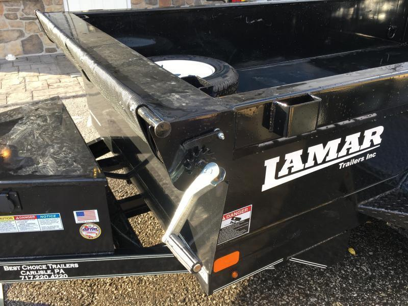 2019 Lamar 5x8' DS60 Dump Trailer 7000# GVW - SINGLE AXLE * RAMPS * CHARCOAL * SPARE MOUNT