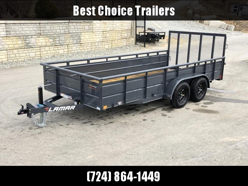 2019 Lamar 7x16' Utility Trailer 7000# GVW * 2' STEEL HIGH SIDES *  PIPE TOP * ADJUSTABLE COUPLER * DROP LEG JACK * TIE DOWN RAIL * TUBE GATE