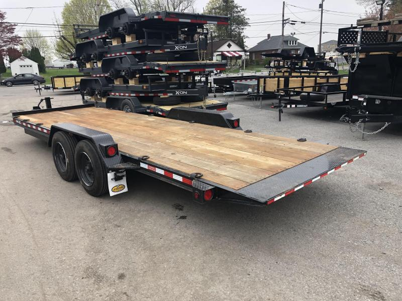 "USED 2019 Rolls Rite 19+4' Gravity Tilt Equipment Trailer 16000# GVW * 2 CHAIN TRAYS * DEXTER TORSION AXLES * 17'5"" RUBBER * OAK DECK * EXTRA D-RINGS"
