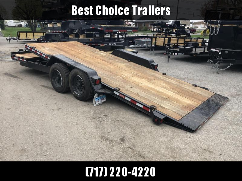 USED 2019 Rolls Rite 17+5' Gravity Tilt Equipment Trailer 16000# GVW * 8000# AXLE UPGRADE * 2 CHAIN TRAYS * DEXTER TORSION * OAK DECK * EXTRA D-RINGS