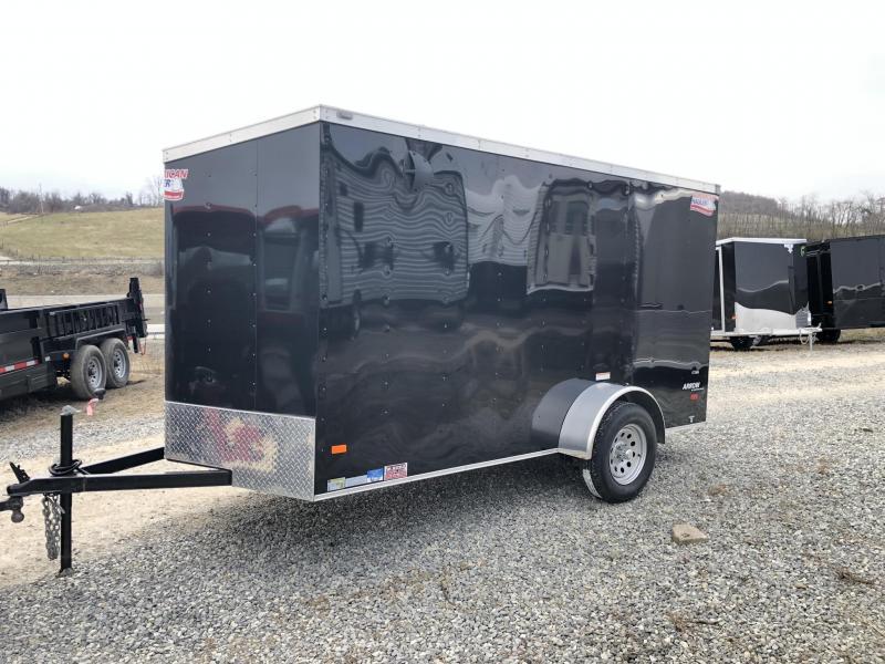 "2019 American Hauler 6x12' Enclosed Cargo Trailer 2990# GVW AR612SA * BLACK * RAMP DOOR * ROUND TOP * STABILIZER JACKS * 16"" O.C. FLOORS/WALLS/CEILING * CLEARANCE - FREE ALUMINUM WHEELS"