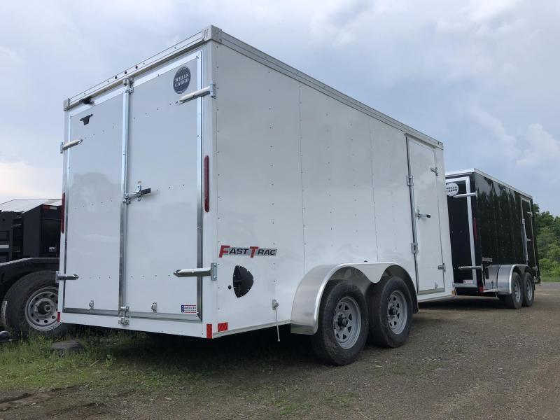 2019 Wells Cargo 7x16' Fastrac Enclosed Cargo Trailer 7000# GVW * WHITE * BARN DOORS * V-NOSE