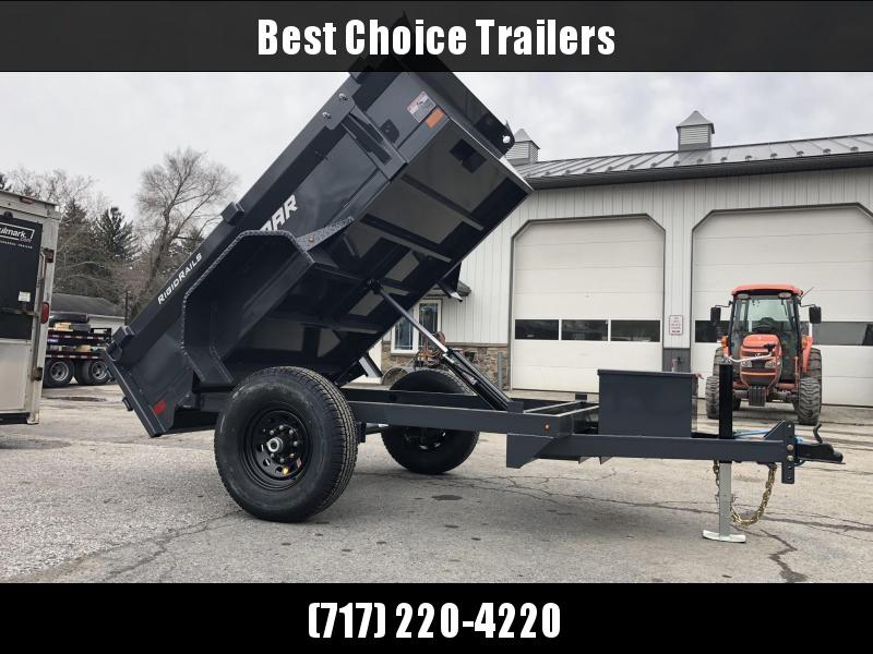 2019 Lamar 5x8' DS60 Dump Trailer 7000# GVW - SINGLE AXLE * SPARE MOUNT * CHARCOAL * CLEARANCE - FREE ALUMINUM WHEELS