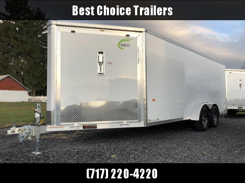 "2019 Neo 7x22' Aluminum Enclosed Snowmobile All-Sport Trailer * FRONT RAMP * NXP LATCHES * FLOOR TIE DOWN SYSTEM * REAR JACKSTANDS * UPGRADED 16"" OC FLOOR * UPPER CABINET"
