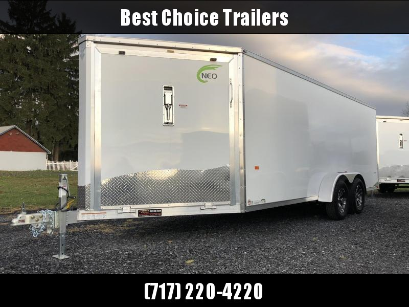 """2019 Neo 7x22' Aluminum Enclosed Snowmobile All-Sport Trailer * FRONT RAMP * NXP LATCHES * FLOOR TIE DOWN SYSTEM * REAR JACKSTANDS * UPGRADED 16"""" OC FLOOR * UPPER CABINET"""