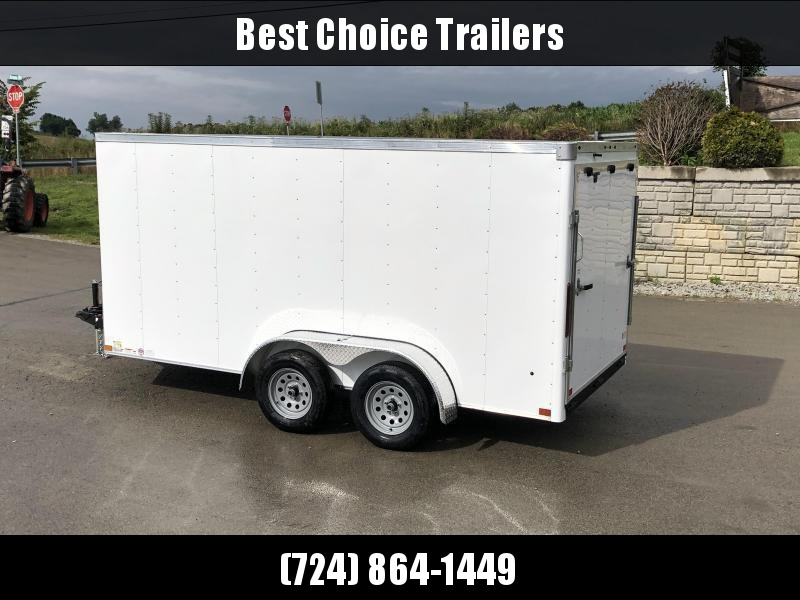 2019 Wells Cargo 7x14' Road Force Enclosed Cargo Trailer 7000# GVW * WHITE * RAMP DOOR * V-NOSE * .030 ALUM EXTERIOR * 1 PC ALUM ROOF * ARMOR GUARD