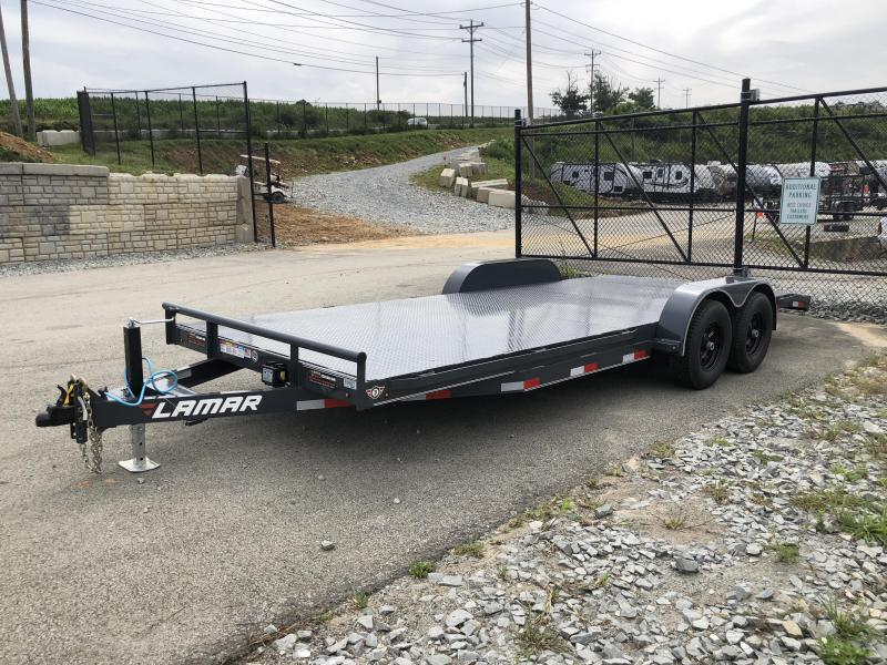 2018 Lamar 7X20' CC10 Car Trailer 9990# GVW RUBRAIL * REMOVABLE FENDERS  * CHARCOAL POWDERCOATING * 7K DROP LEG JACK * STEEL DECK