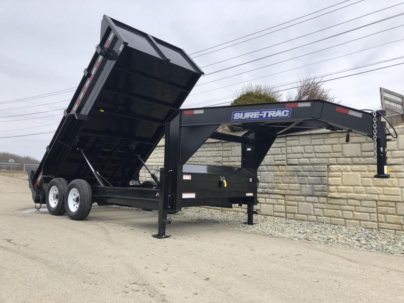 2020 Sure-Trac 7x14' Gooseneck Dump Trailer 14000# GVW * NEW I-BEAM NECK AND FULL FRONT TOOLBOX