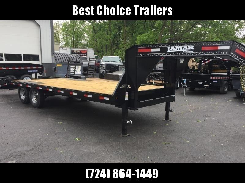 2018 Lamar 102x19+5' Gooseneck Beavertail Deckover Trailer 14000# GVW * CHARCOAL POWDERCOAT * FLIPOVER RAMPS