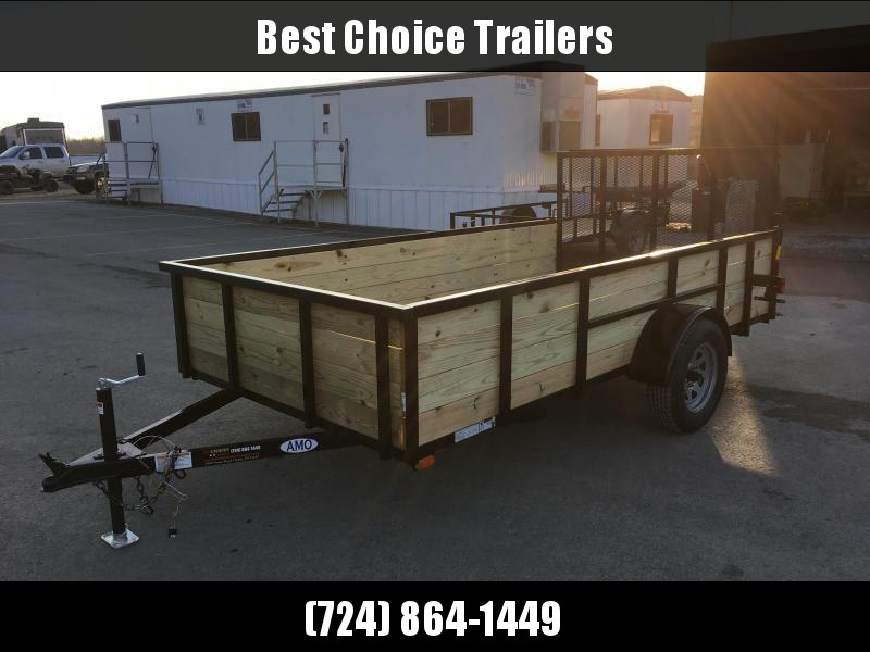"2018 AMO 76""x12' Wood High Side Angle Iron Utility Landscape Trailer 2990# GVW * CLEARANCE - FREE ALUMNIUM WHEELS"