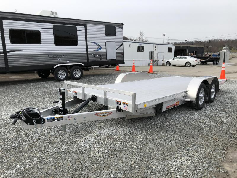 2018 H&H 7x18' Aluminum Power Tilt Car Trailer 7000# GVW - EXTRUDED ALUMINUM FLOOR