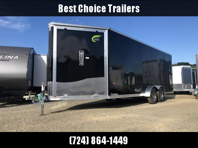 2020 Neo 7x24' Aluminum Enclosed All-Sport Trailer * 7' HEIGHT - UTV PKG * BLACK * FRONT RAMP * LOADED * UTV * ATV * Motorcycle * Snowmobile