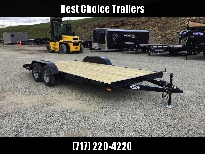 2018 AMO 7x18' Wood Deck Car Trailer 7000# GVW * CLEARANCE - FREE ALUMINUM WHEELS
