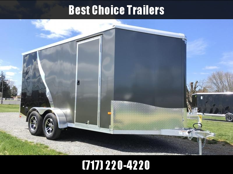 2018 Neo 7x14 NAMR Aluminum Enclosed Motorcycle Trailer * BLACK AND PEWTER * DRT SPOILER * LOAD LIGHTS * EXTRA HEIGHT * ALUMINUM WHEELS in Ashburn, VA