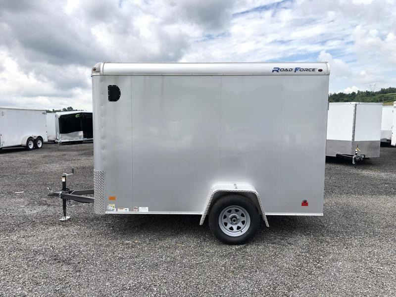 """2019 Wells Cargo 6x10' Road Force Enclosed Cargo Trailer 2990# GVW * SILVER EXTERIOR * ROUND TOP * RAMP DOOR * .030 EXTERIOR * 1PC ALUM ROOF * 6'6"""" HEIGHT * TUBE STUDS * 16"""" O.C WALLS"""