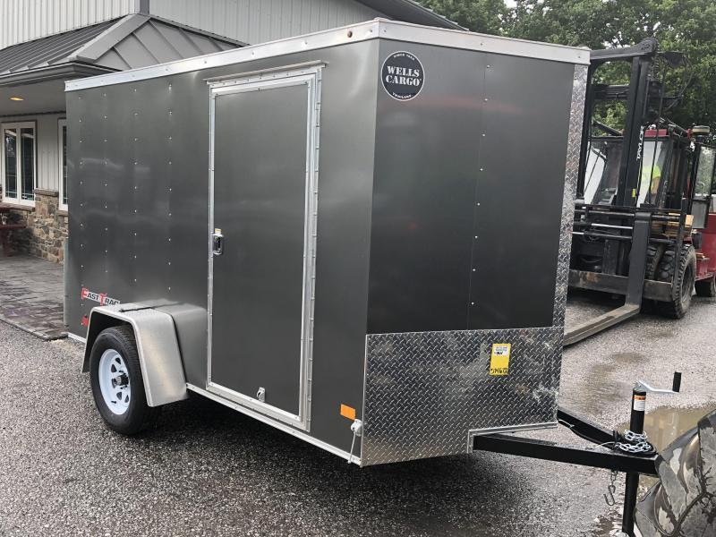 2018 Wells Cargo 6x10' Fastrac Enclosed Cargo Trailer 2990# GVW * CHARCOAL EXTERIOR * RAMP DOOR * CLEARANCE - FREE ALUMNIUM WHEELS