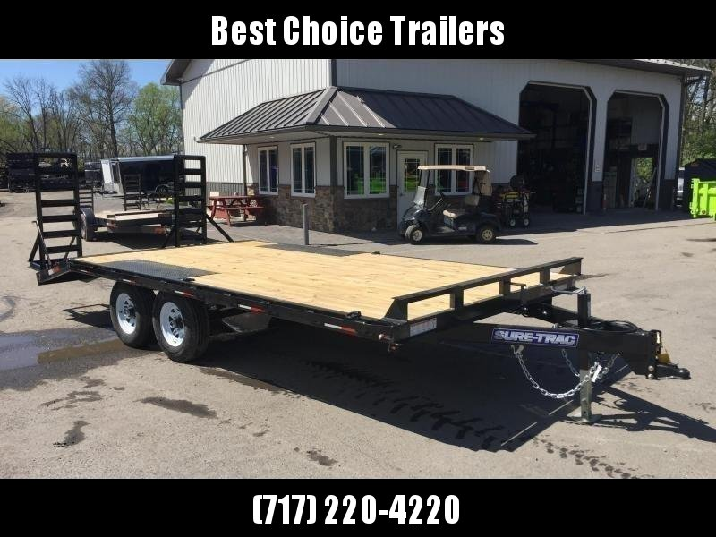 2019 Sure-Trac 102x15+3 9990# Beavertail Deckover Equipment Trailer STAND UP RAMPS