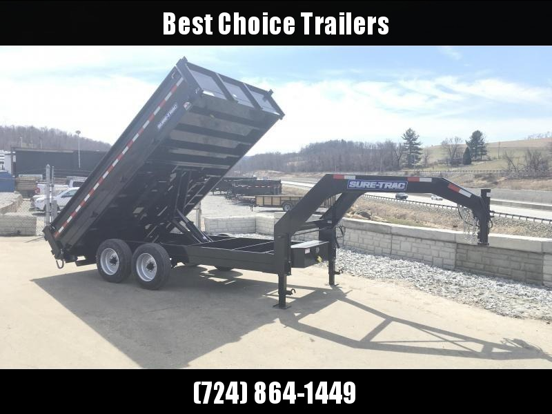2018 Sure-Trac 8x14' HD Gooseneck Deckover Dump Trailer 16000# GVW - FOLD DOWN SIDES * CLEARANCE in Ashburn, VA