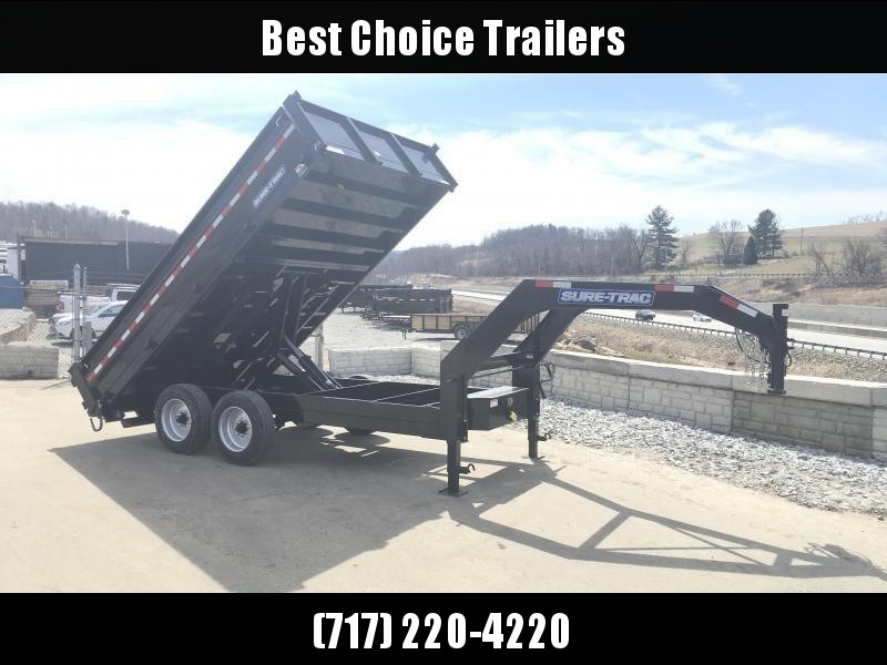 2018 Sure-Trac 8x14' HD Gooseneck Deckover Dump Trailer 16000# GVW - FOLD DOWN SIDES in Ashburn, VA