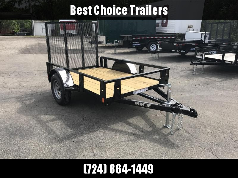 2018 Rice 5x8' Angle Iron Utility Landscape Trailer 2990# GVW RS58 * SET BACK JACK * BULLET LED'S * TUBE GATE