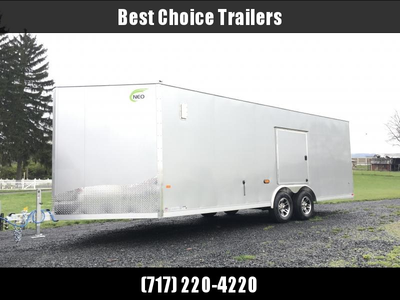 "2018 NEO 8.5x22' NCBR Aluminum Round Top Enclosed Car Hauler Trailer 7000# GVW NCB2285R6 * ESCAPE DOOR * +6"" HEIGHT * CEILING LINER * 5200# TORSION * ALUMINUM WHEELS in Ashburn, VA"