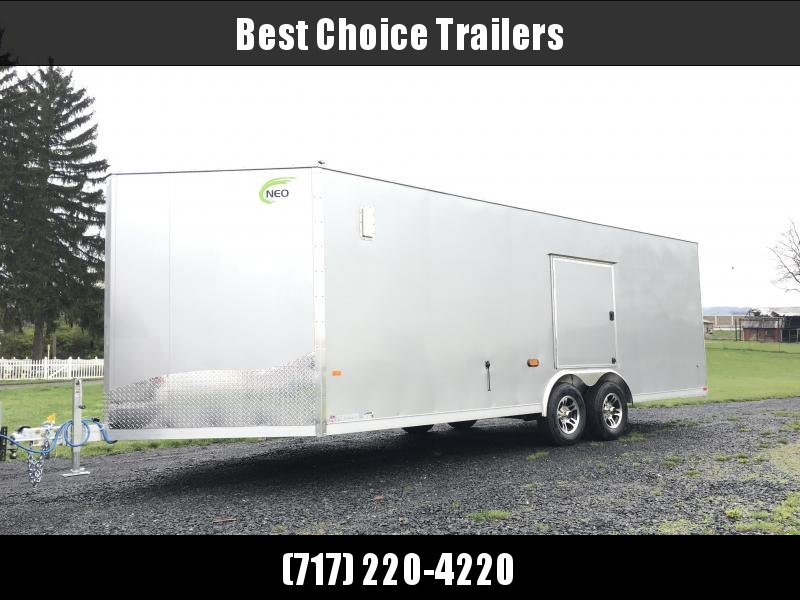 """2018 NEO 8.5x22' NCBR Aluminum Round Top Enclosed Car Hauler Trailer 7000# GVW NCB2285R6 * ESCAPE DOOR * +6"""" HEIGHT * CEILING LINER * 5200# TORSION * ALUMINUM WHEELS in Ashburn, VA"""